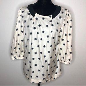 Boden White Ivory Black polka dot 3/4 sleeve Top